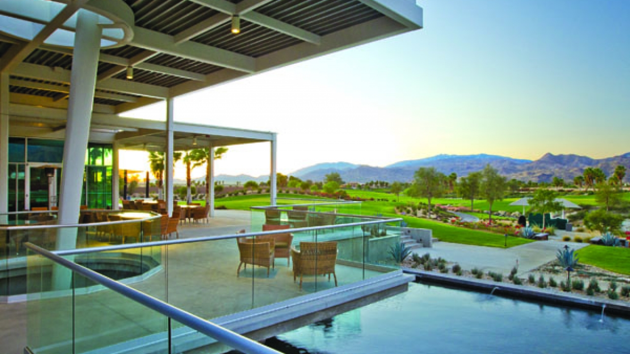 The view from the clubhouse at Escena Golf Club in Palm Springs.